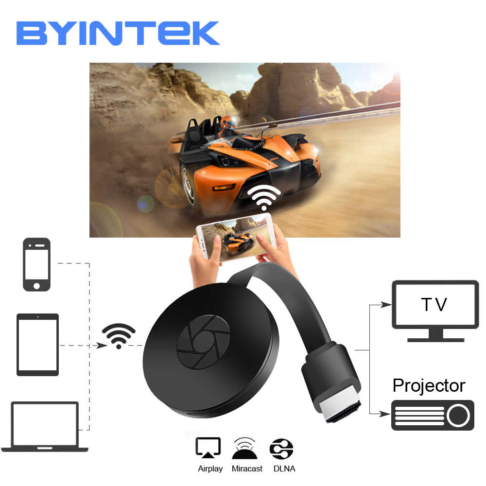 Byintek BD-X4 Wifi HD Doogle untuk Airplay Miracast Smartphone Netflix, Hulu, Receiver Transmitter Nirkabel TV Dongle Receiver