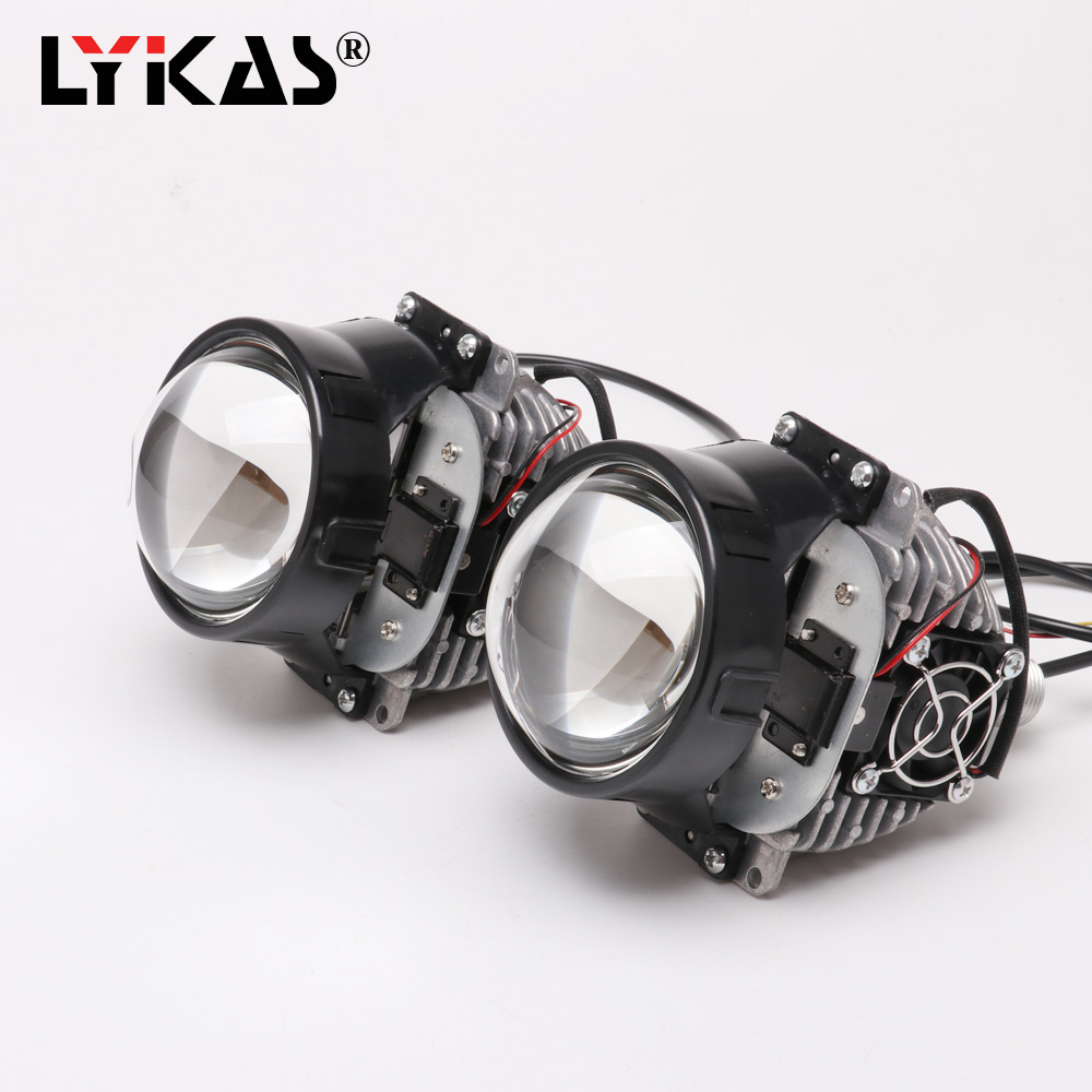 LYKAS 35w Bi LED Headlight Projector Lens High Low Beam 5500K for Car