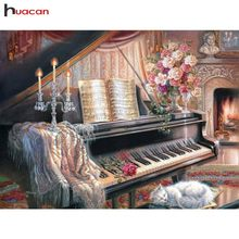 HUACAN Diamond Painting Full Square Piano Diamond Embroidery Cat Picture Of Rhinestone Scenery Home Decoration Wall Stickers(China)