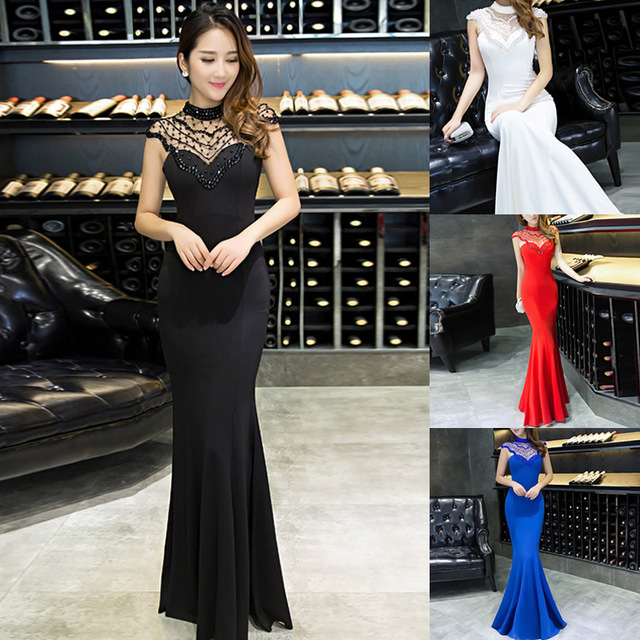 2019 New Famininos Vestidos Elegant Round Collar Backless Organza Spliced Sheathy Maxi Party Dress Women S/L Long lace Dress