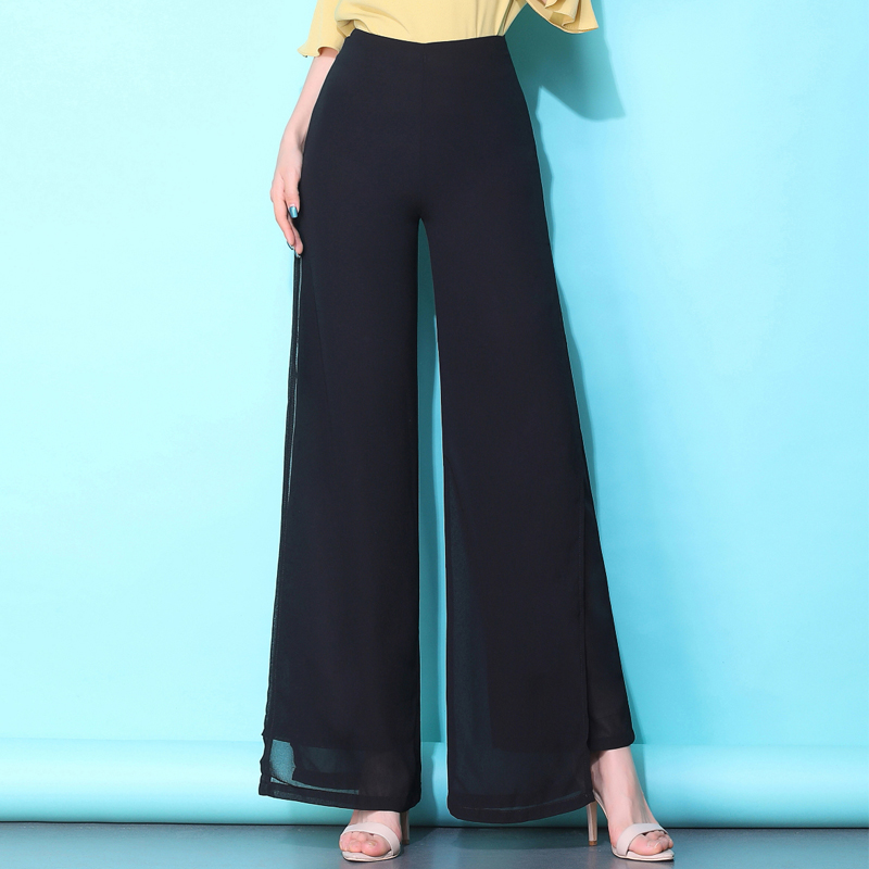 New summer woman   wide     leg     pants   chiffon casual loose elastic waist black long trousers for lady high quality female   pants