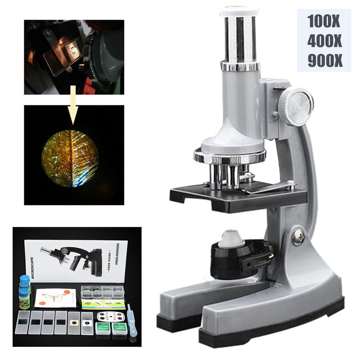Educational LED Classic Microscope 100x 400x 900x Children Gift Microscope for Kids To Learn Science Christmas Birthday Gift