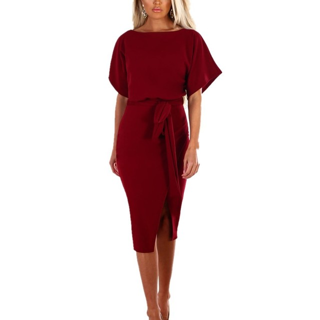ef2914df0656 VITIANA Women office work dress female 2019 summer solid black short sleeve  knee-length split