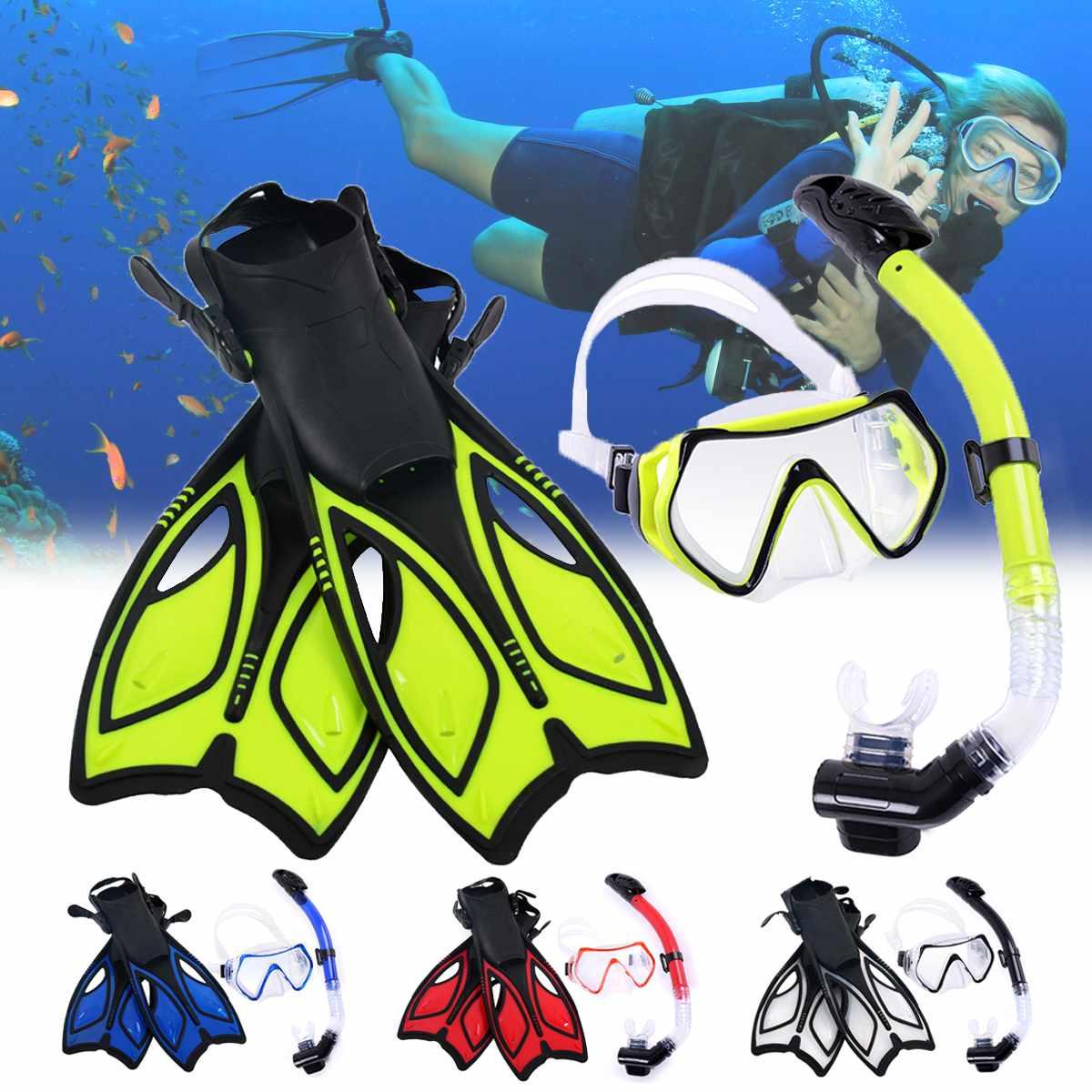 Masque de plongée en Silicone lunettes de natation plongée sous-marine masques de plongée tuba palmes de plongée ensemble adulte 3 pièces équipement de plongée