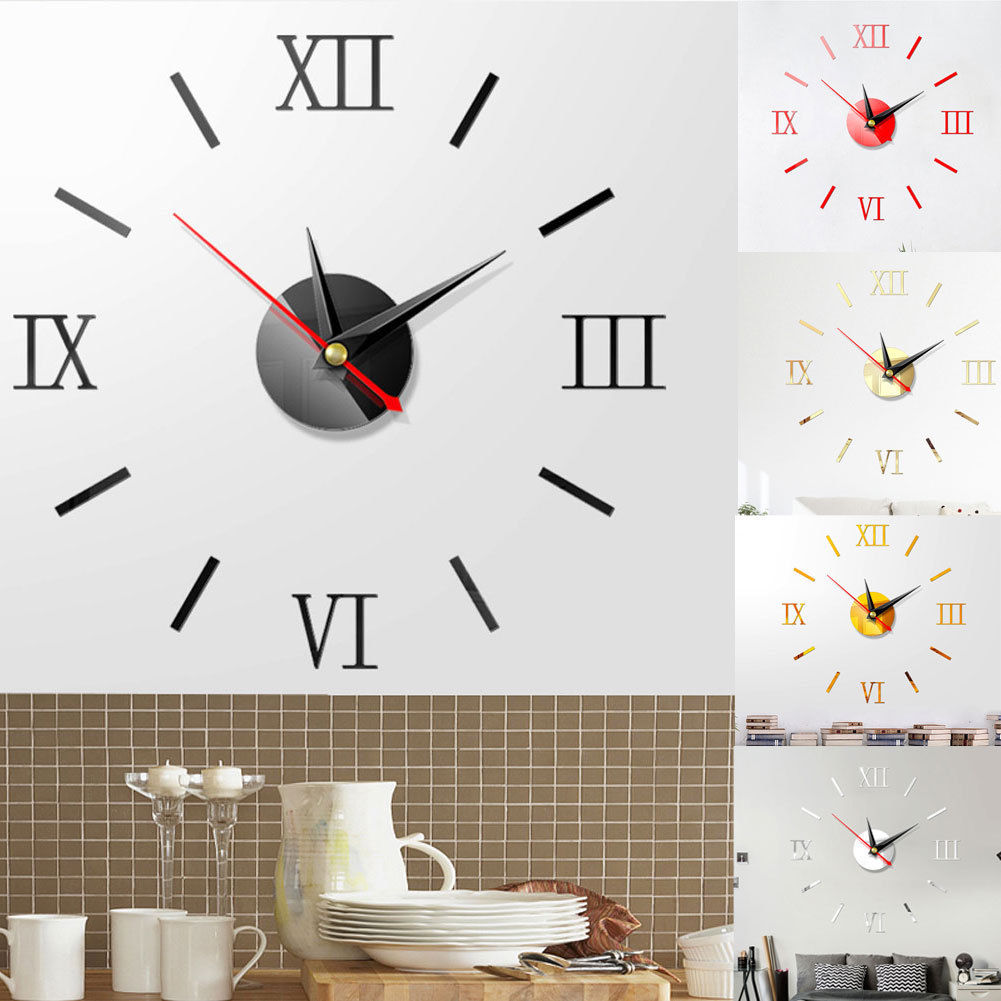 US DIY  3D Mirror Surface Large Number Wall Clock Sticker Modern Home Decor HOT