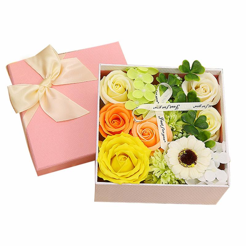 Simulation Carnation Small Square Box Soap Flower Bouquet Christmas Mother's Day Customer Feedback Gift wedding candy candy bar
