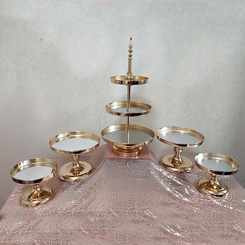 1pcs 5pcs Mirror Wedding Decoration 2 Or 3 Tier Cupcake Display Gold Metal Cake Stand