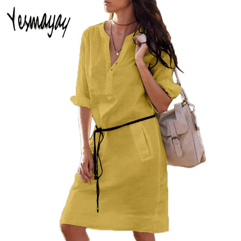 White Black Shirt Dress Women Plus Size 5XL Women Dress Long Sleeve Spring Autumn Elegant V-neck Slim Waist Dresses Vestidos