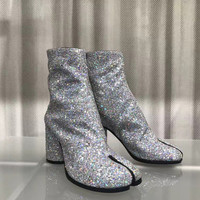 Brand Design Sequined Cloth Split Toe Woman Boots Bling Embellished High Thick Heels Fashion Street Styles Woman Boots Real Pic