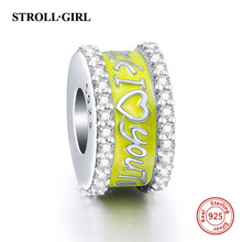 Fit Authentic Pandora Charms Bracelets Silver 925 Yellow Color enamel Family tree LOVE Flat Beads Sterling-silver-Jewelry Gifts fit authentic pandora bracelet jewelry 925 sterling silver beads bound by love just married charms beads luxury love gifts