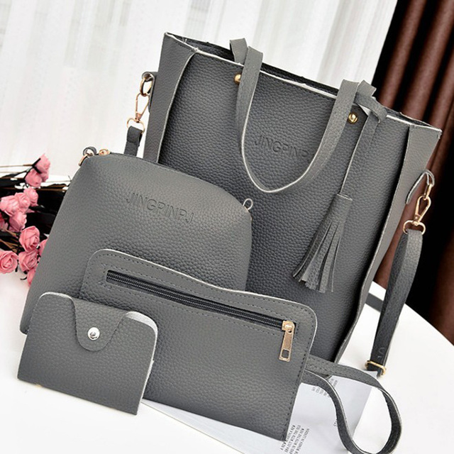 4pcs/set Tassel Handbags For Women 2018 Luxury Design PU Crossbody Messenger Bags Clutch Shoulder Satchel Tote Purse Bolso Mujer