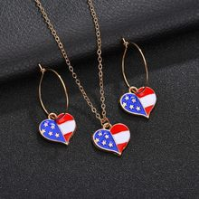 Attractive Colorful Clear Blue Red Flag Pattern Women Necklace Earring Sets For Girls Great Fashion Party Jewelry Sets(China)