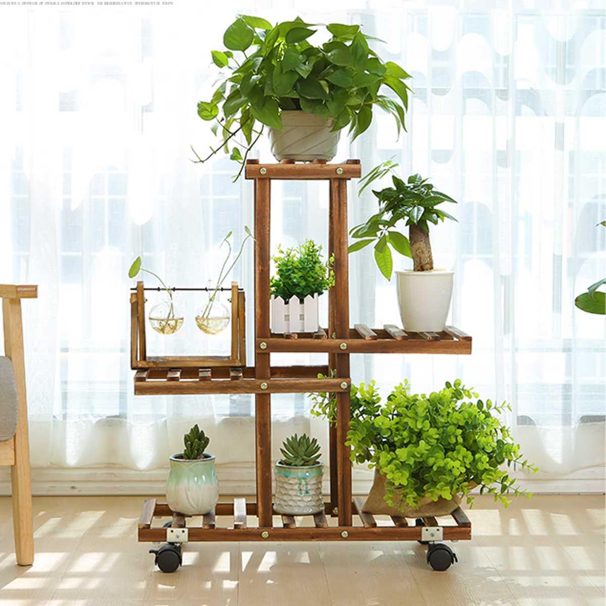 Planta de bambu Stand Vaso de Flores Plantador Do Jardim Pote de Berçário Stand Prateleira Jardim Ao Ar Livre Indoor Decoração Presentes de Ferramentas Com Rodas