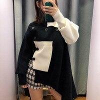 SHENGPALAE 2019 New Spring Round Collar Tops Personality Irregular Hem Black Patchwork Long Sleeve Women Korean Sweater FI723