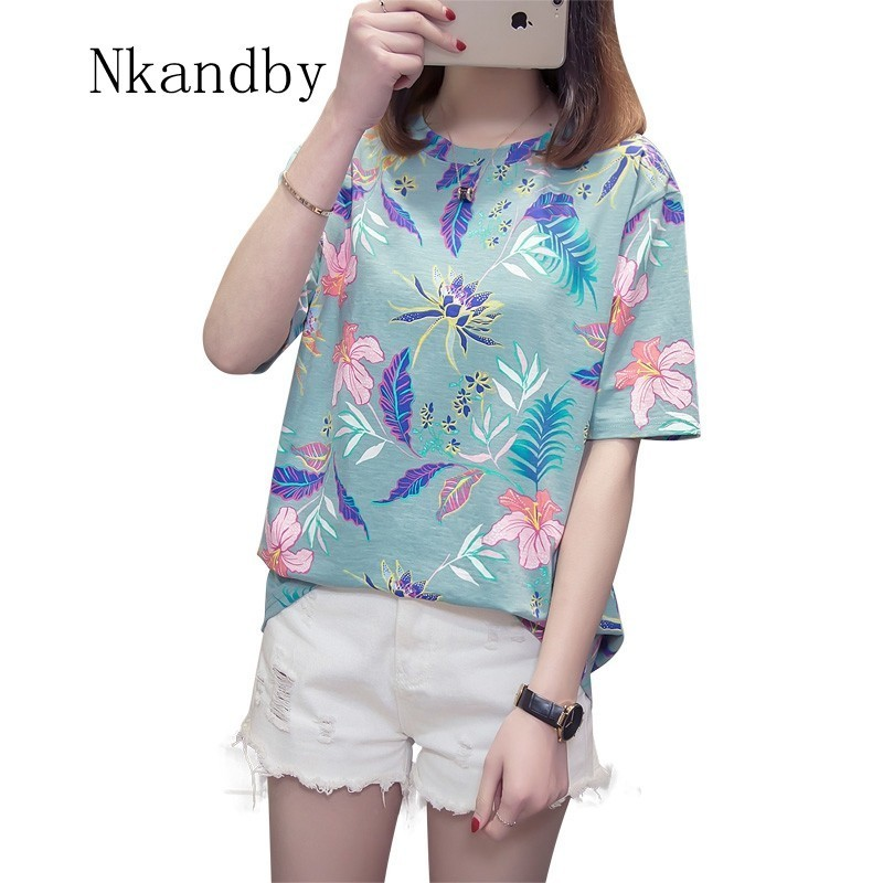 Nkandby Flower Print Summer T-shirt For Woman Fashion Casual Short sleeve Ladies Tshirt 2019 New Bamboo Plus size Basic Tops 4XL 1