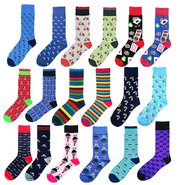 Colorful Rainbow Striped Printing Men Socks Funny Poker Casual Sokken Comfort Combed Cotton Motion Harajuku Chaussette Homme