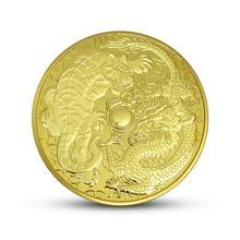 Дракон битва Тигр Серебряная позолоченная памятная монета животное сплав антикварная памятная монета любовь медаль художественная коллекция