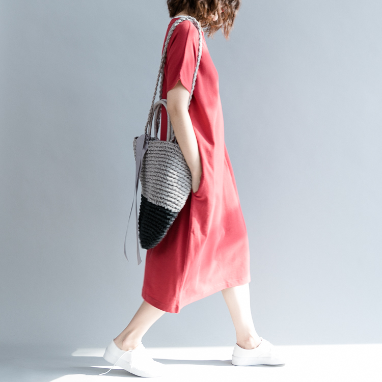 0103 Summer Dress Women Short Sleeve Casual T shirt Dress Cotton Oversized Loose Red Round Neck Vestidos Female in Dresses from Women 39 s Clothing