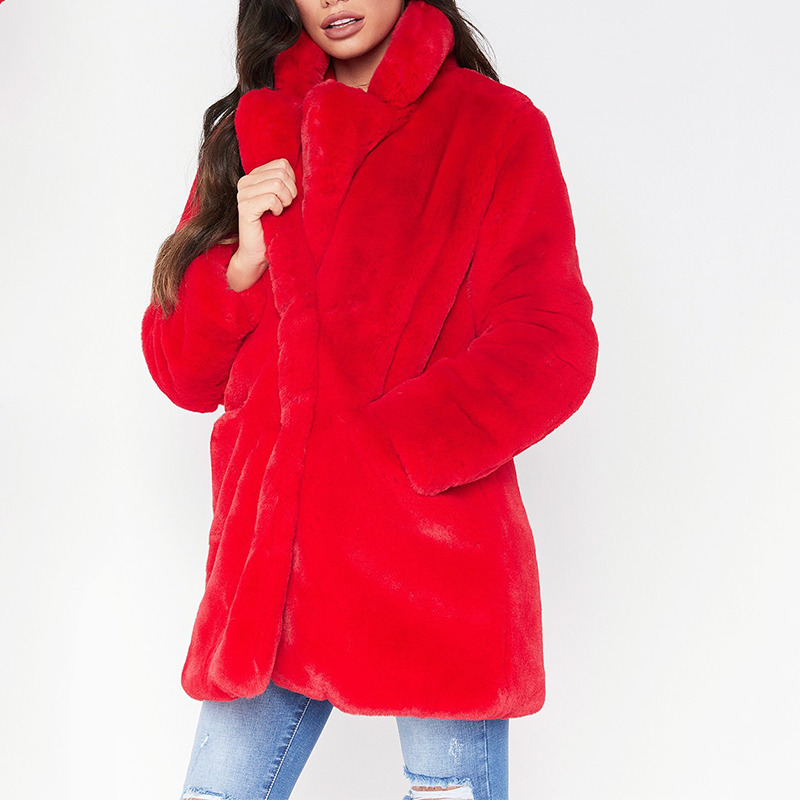 Loose Faux Fur Coat 4XL Winter Fake Rabbit Fur Jacket Femle Solid Long Thick Outwear Ladies Casual Warm Overcoats Femme