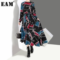 [EAM] 2018 New Autumn Winter Round Neck Long Sleeve Black Pattern Printed Loose Irregular Hem Long Dress Women Fashion JI043