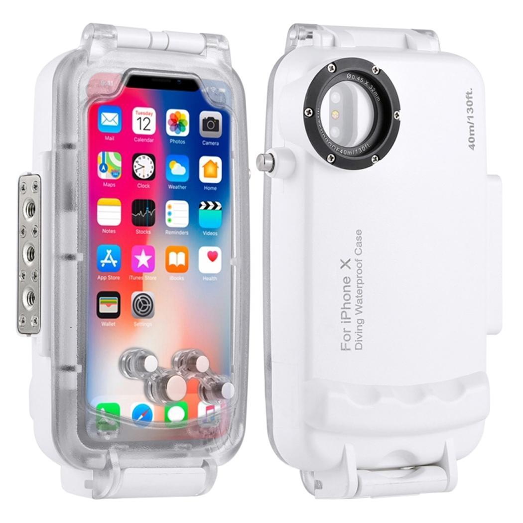 Mode unisexe coque de téléphone étanche 360 40 m degrés Protection téléphone couverture imprimer Protection blanc, noir