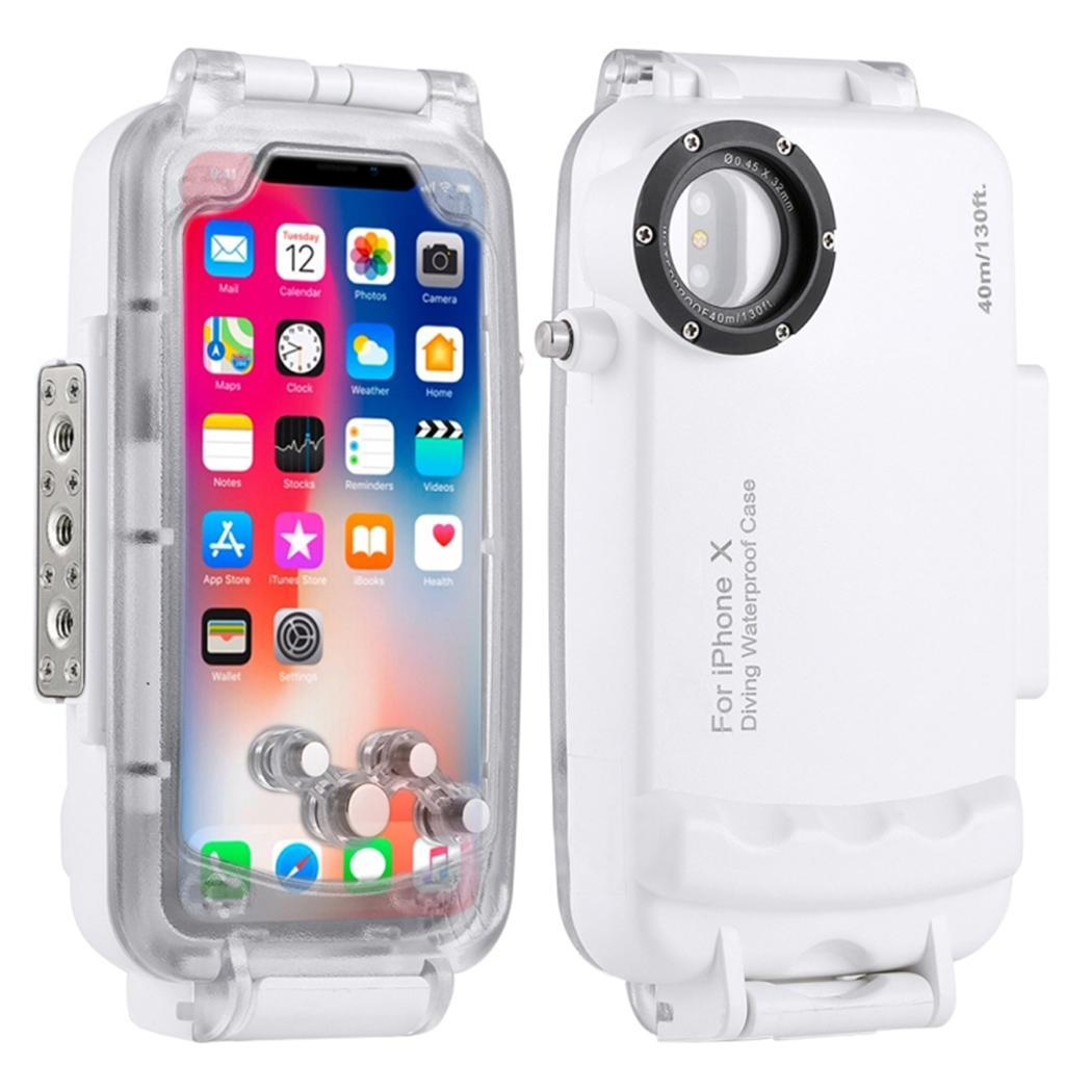 Unisex Fashion Waterproof Phone Case 360 40m Degree Protection Phone Cover Print Protective White, Black