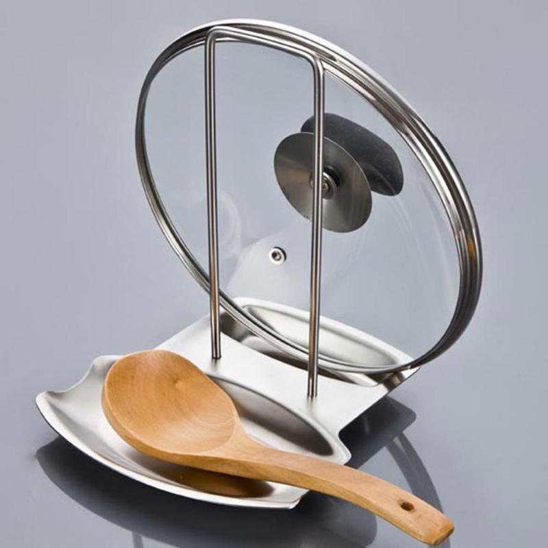 Stainless Steel Pan Pot Rack Cover Lid Rest Stand Spoon Sponge Holder Shelf Racks & Holders     -