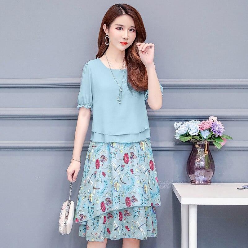 Green,pink Flowers Summer Dress Large Size Women Short Sleeve Floral Print Chiffon Dresses Plus Size Vestidos 3xl,4xl,5xl Fine Workmanship Women's Clothing