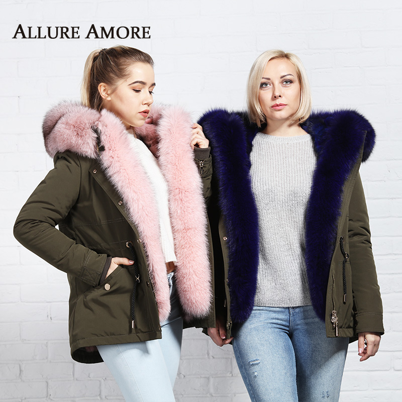 Winter Fox Fur Parkas hooded Jacket Real Fur Coat Women Natural Blue Fox Liner Blue Fox Fur Threshold Large Collar AllureAmore