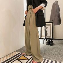e9e062cf8e91 2019 Spring Autumn Korean Fashion Black Khaki Wide Leg Pants Women High  Waist Casual Bandage Trousers