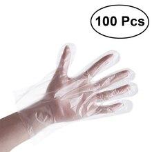 100 шт./компл. одноразовые перчатки Прозрачный Еда Пластик перчатки для Кухня Ресторан отеля Аксессуары для барбекю перчатки PE дропшиппинг