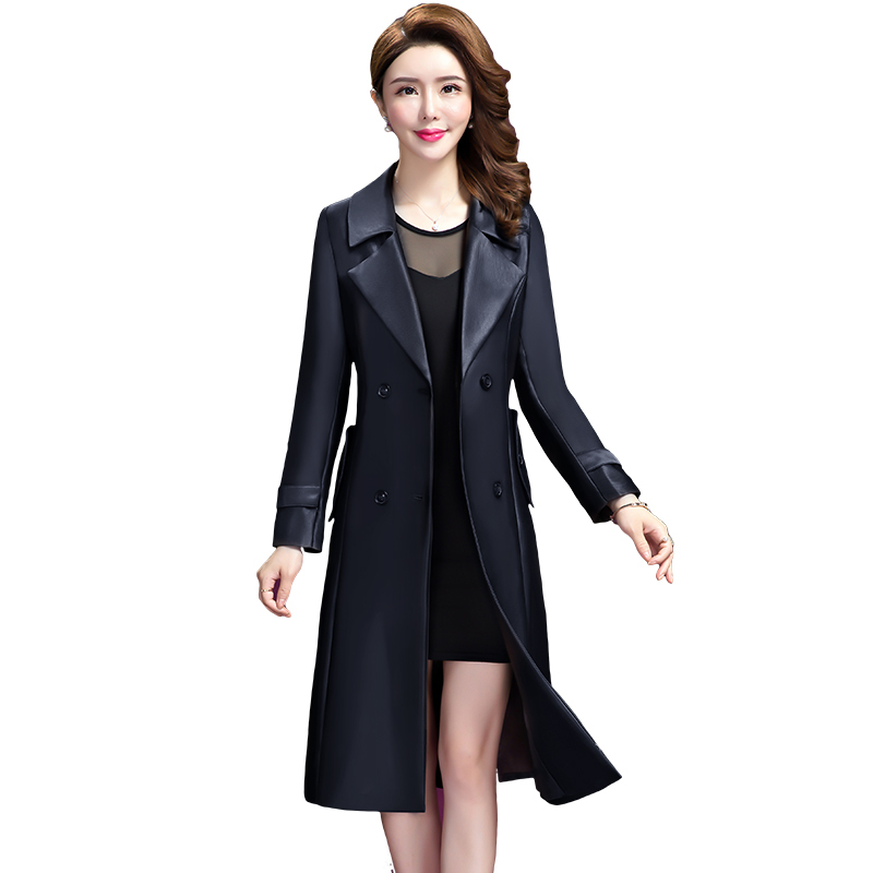 Trench   Coat For Women 2019 Casual Turn-down Collar Long Sleeve Spring Autumn Double Breasted Women's Overcoat Plus Size 5XL