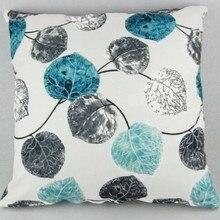 """HGLEGYW серая наволочка с листьями, Модный чехол для подушки, Голубой квадрат, 18x18"""""""