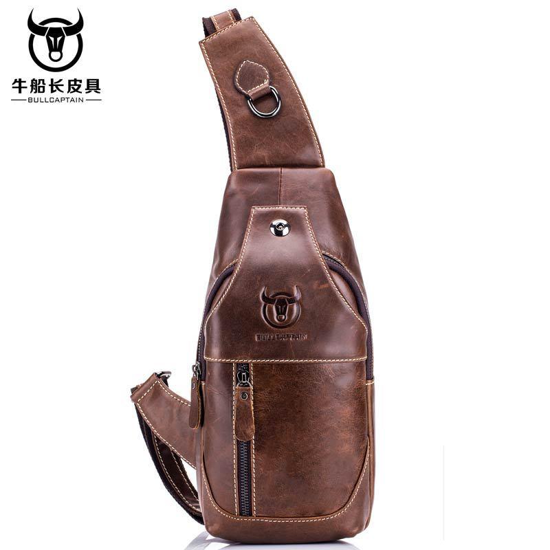 BULLCAPTAIN Vintage Men's Leather One Shoulder Crossbody Leather handbag Chest bag men leather bag Men's Cross Body Shoulder bag-in Waist Packs from Luggage & Bags