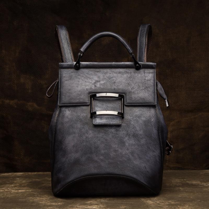 Genuine Leather Rucksack School Daypack One Shoulder Bag Vintage Girl Knapsack Travel High Quality Women Natural