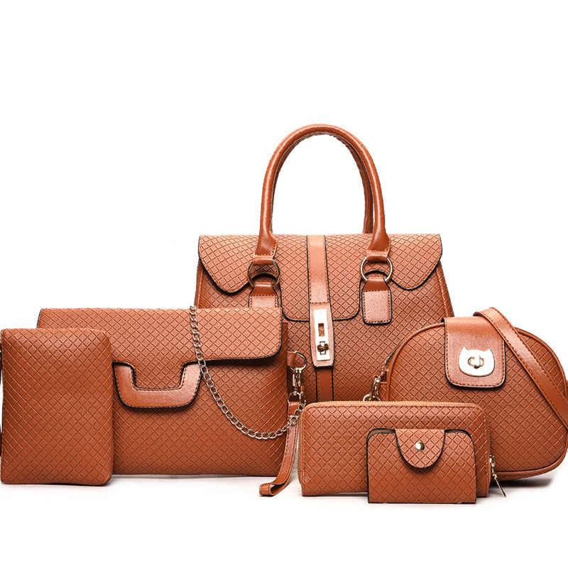 6 pçs conjunto de saco para as mulheres 2019 bolsa de couro marca design moda ombro crossbody sacos senhoras saco do mensageiro bolsa embreagem bolsa