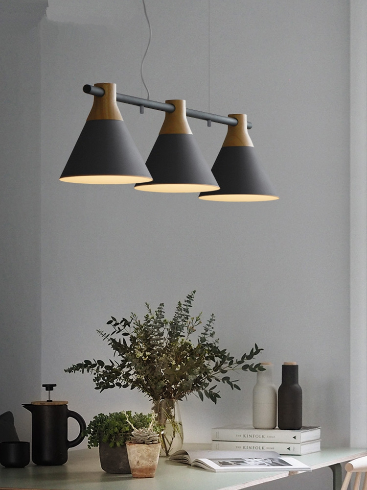 Nordic Led Pendant Lights Kitchen Dining Room Iron Decor Bedroom Living Room Originality Three Heads Pendant Lamps Light Fixture in Pendant Lights from Lights Lighting