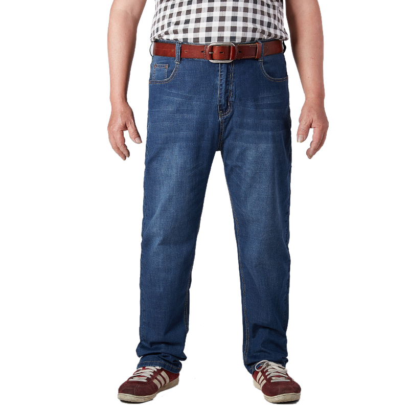 Image 2 - Plus Size Mens Jeans Classic Straight Baggy Male Jeans New Summer Thin Casual Loose Fit Denim Pants King Size Trouser Overalls-in Jeans from Men's Clothing