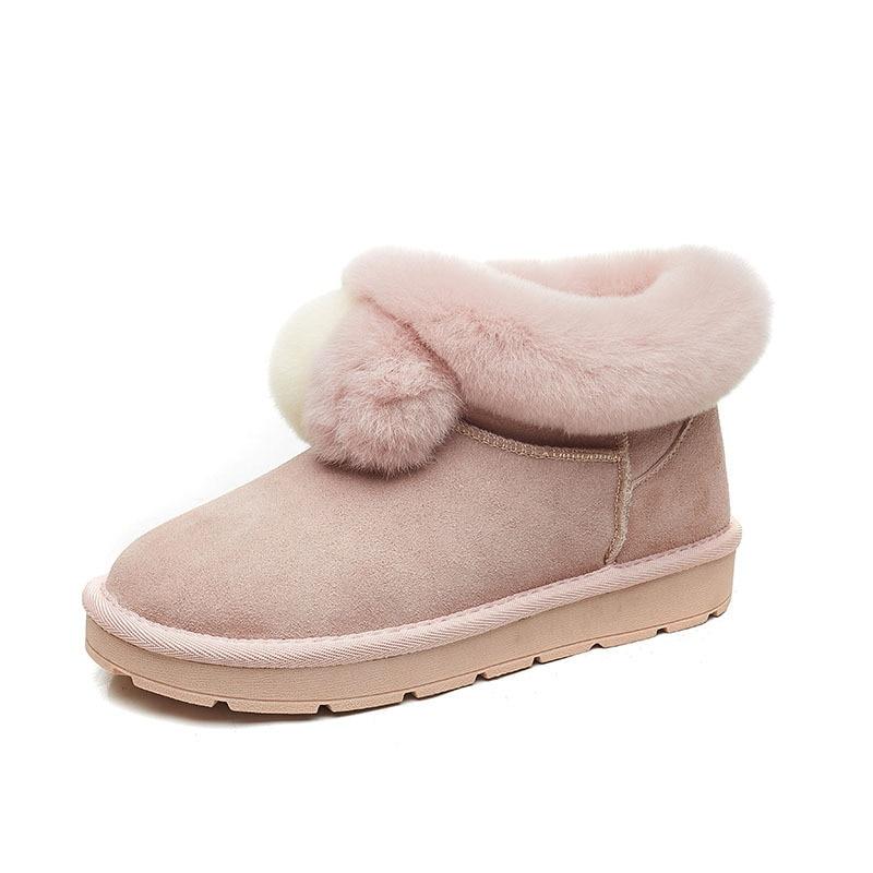 Garder Hiver Colour Femmes Véritable glissement Confortable Bottes Au Cuir Non pink D'hiver khaki Chaussures Courte mushroom Fond Chaud Plat Femme Black FFqgwrS8