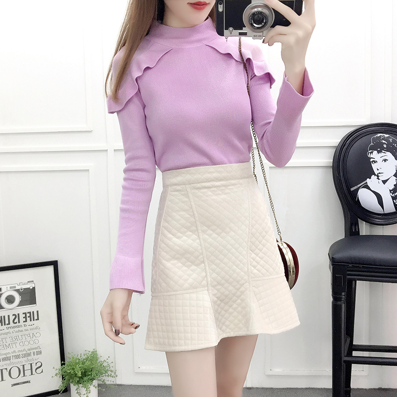 knitting fashion suits skirt Tall waist fishtail skirts ruffled skirt women outfit lady pullover sweater top design vestido 2 pc