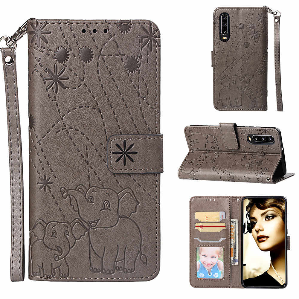 Flip Leather Book Case For Huawei Honor 8x 8c 7A 7C P Smart Plus Nova 3i 2i Y5 Y6 Y7 Prime 2018 P20 Pro Mate 10 Lite Elephant