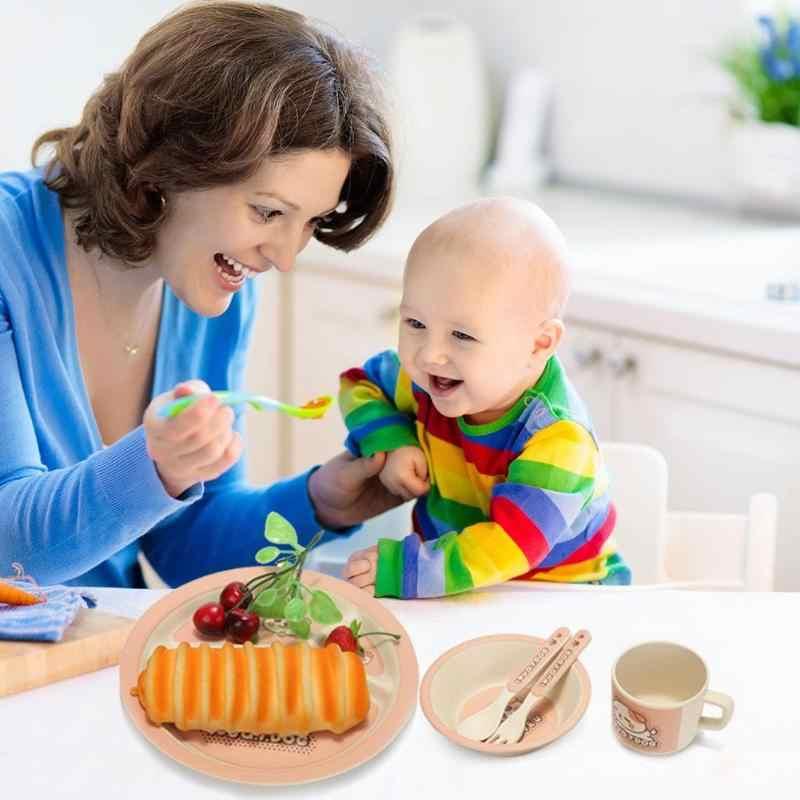 3 ประเภทน่ารัก Baby Feeding ชามจานช้อนส้อมถ้วยชุดความปลอดภัยไม้ไผ่เด็กชุด