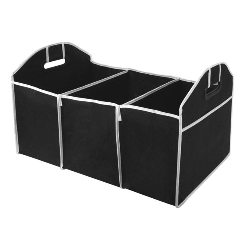 BAO CORE Sturdy Portable Large Car Tidy Boot Organiser Storage Bag Car Trunk Bag Box Foldable With Multi-pockets Black With Buckle
