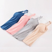 Long Camis With Built in Shelf Bra Adjustable Strap Women Layering Basic Tanks Top Solid Cotton Chest Pad Summer Camis T Shirt