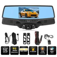 VODOOL H703 5 Inch Car DVR Camera Rearview Mirror Novatek 96655 Dual Lens Starlight Night Vision Car Dash Camera Video Recorder