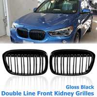 Pair Gloss Black Double Line Front Kidney Grill Grilles For BMW F48 F49 X1 2016 2017 Car Styling