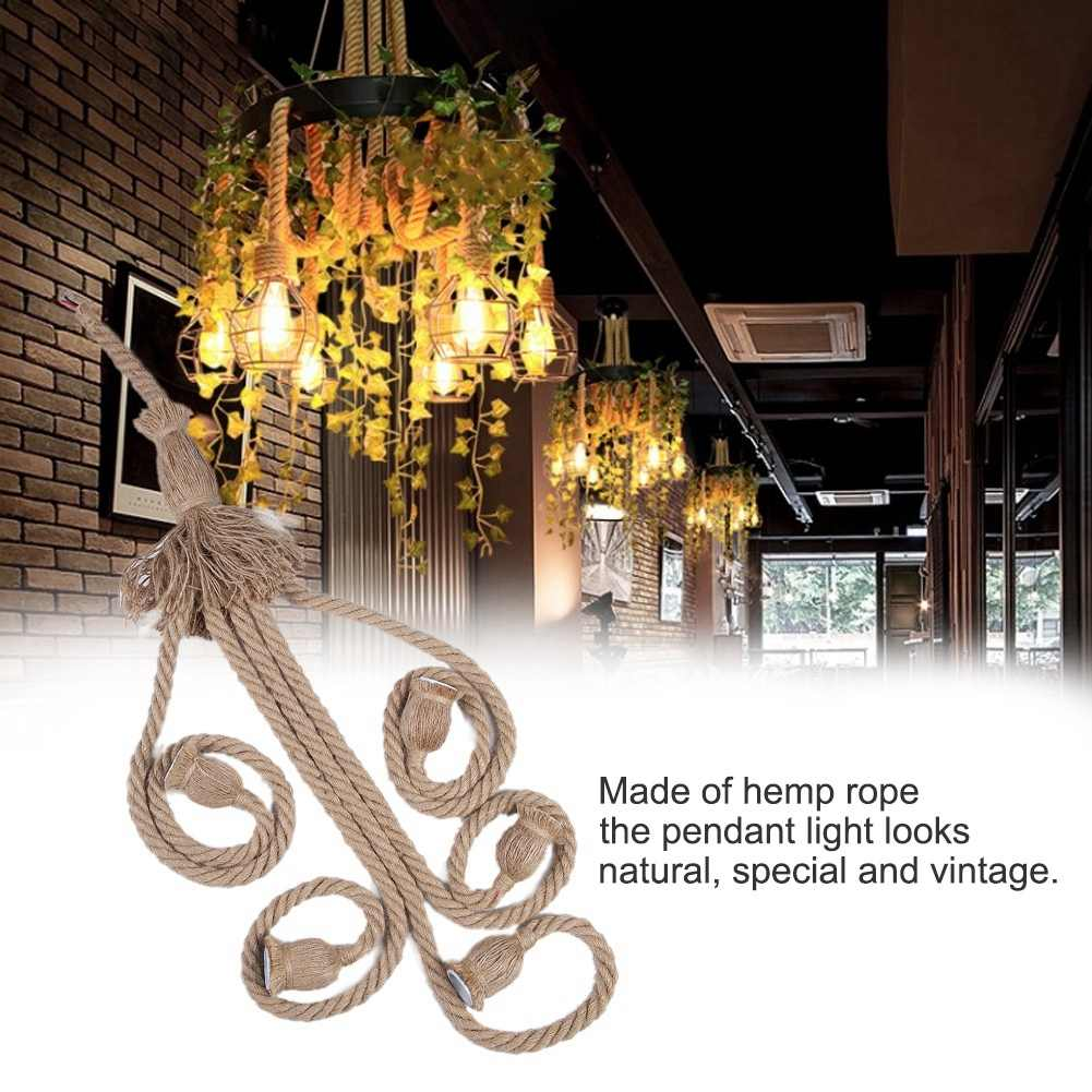 E27 Lamp Base 2m Hemp Rope Cord Electric Wire DIY Pendant Decorative with 6 Bulb Holder