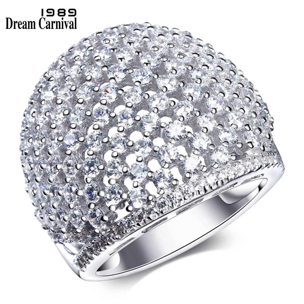 DreamCarnival 1989 Fashion Chunky Design Sterling Silver 925 Base Material Cubic Zirconia Stones Bridal Accessory Ring SJ22783DreamCarnival 1989 Fashion Chunky Design Sterling Silver 925 Base Material Cubic Zirconia Stones Bridal Accessory Ring SJ22783