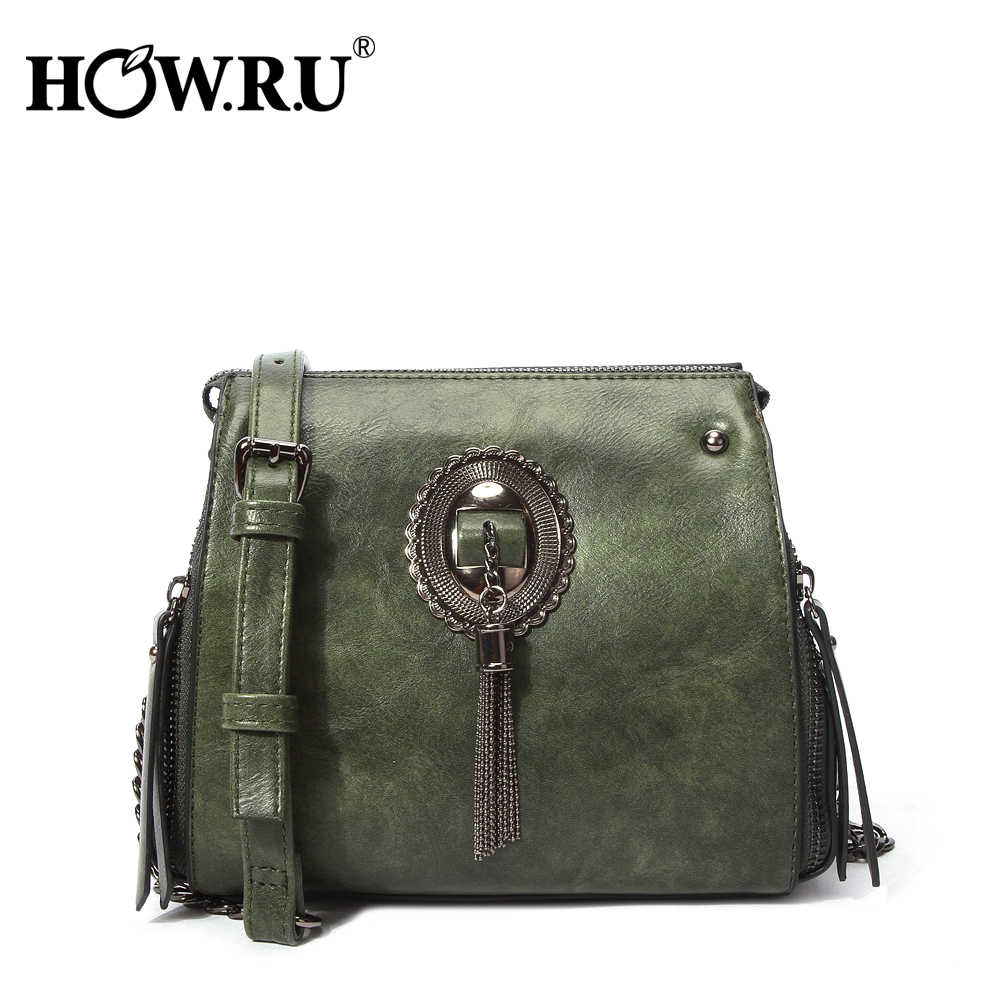 23ec3a6e252e HOWRU Vintage Women Tassel crossbody Shoulder Bag Ladies Leather Handbag  High Quality PU Leather Small Messenger