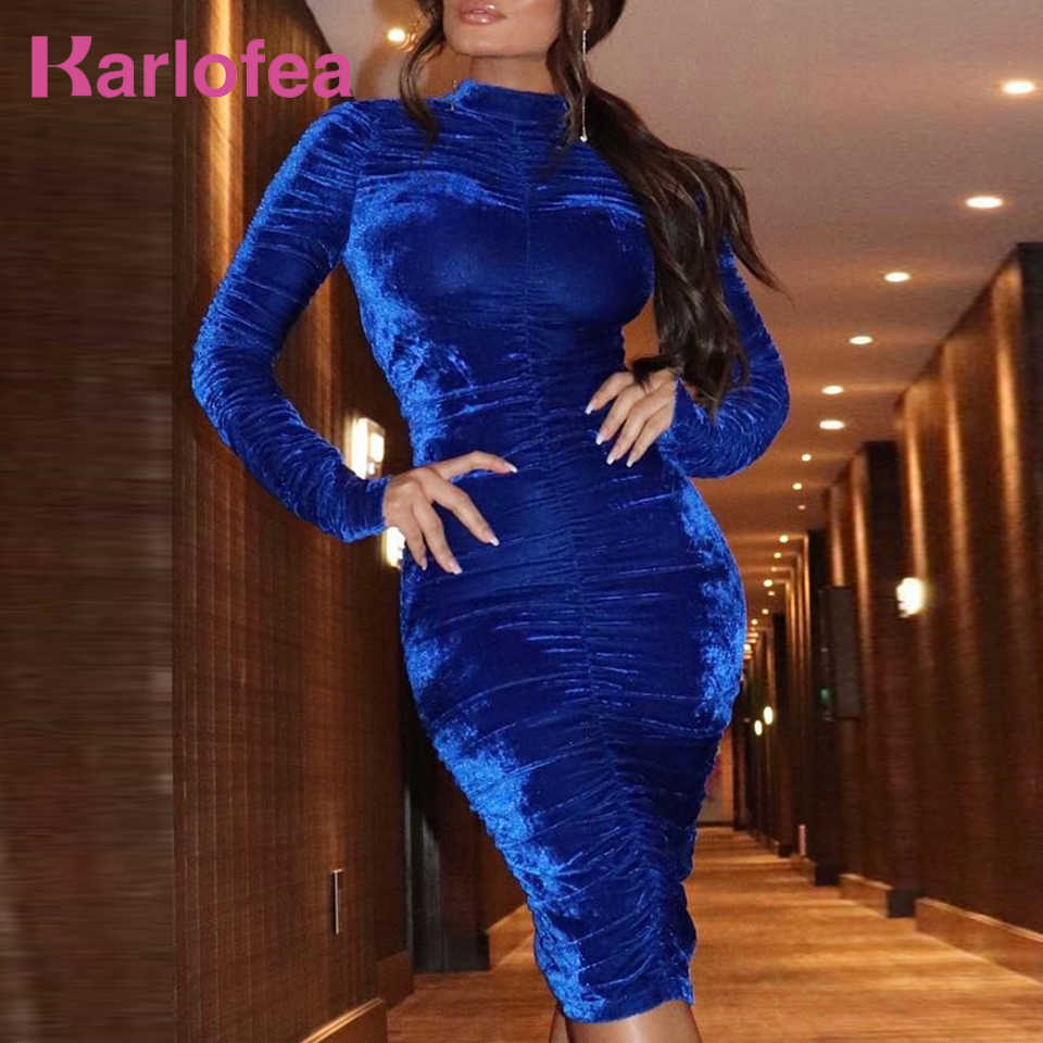 234b0fa896a8 Karlofea Women Office Lady Autumn Winter Outfits Dress Pleated Bodycon Wrap  Midi Dress Elegant Long Sleeve